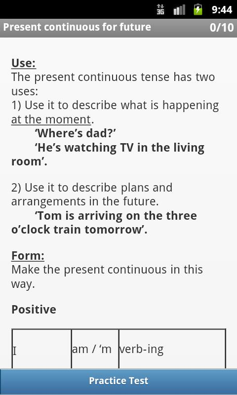 Screenshots of English Tenses for iPhone