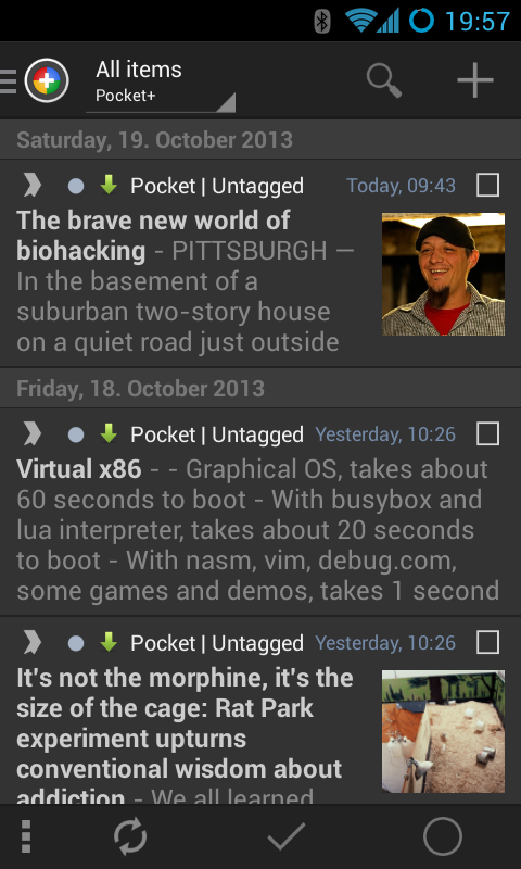 Pocket+ extension for News+- screenshot
