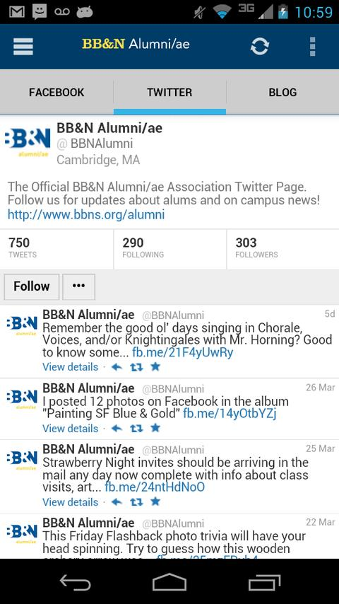 BB&N Alumni/ae Mobile - screenshot