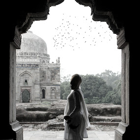 SIKH Girl at Lodhi Garden Tomb by Gurpreet Singh - Buildings & Architecture Statues & Monuments