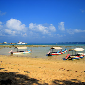 by Sudipto Ghosh - Landscapes Beaches ( sand, blue sky, boats, blue water, fishing )