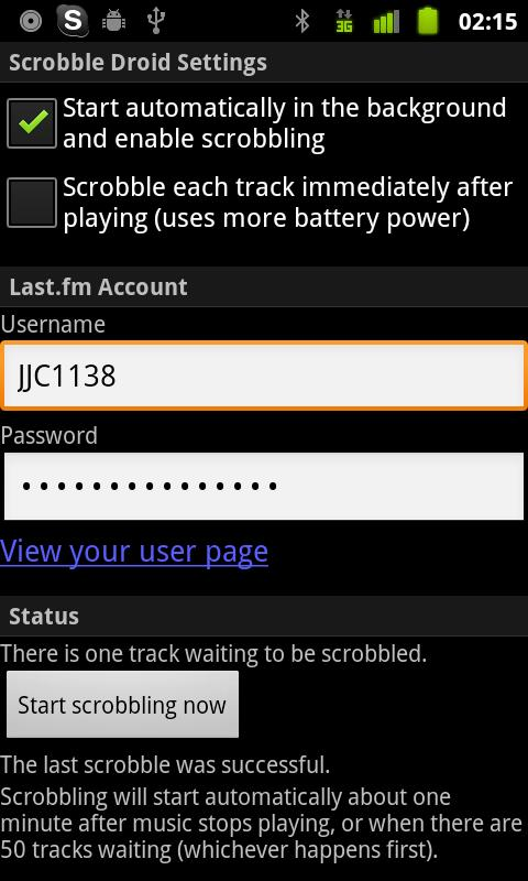 Scrobble Droid- screenshot