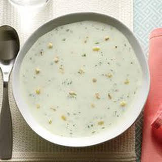 Potato-Cucumber Soup with Toasted Corn.