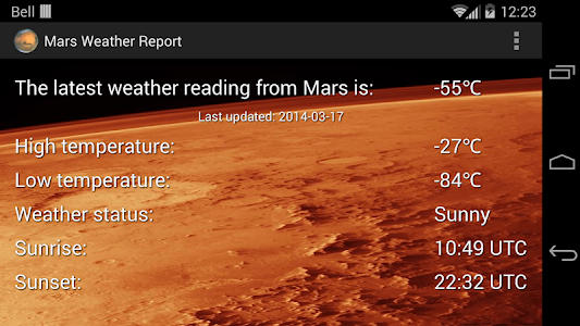 Mars Weather Report screenshot 1