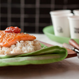 Scottish Salmon with Shallot-Truffle Honey Glaze, Lump Crab and Green Apple Risotto, and Quince Jam.