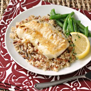 Lemon & Thyme Pan-Seared Cod with Multi-Grain Rice.
