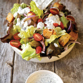 Red Leaf Salad with Ranch Dressing.