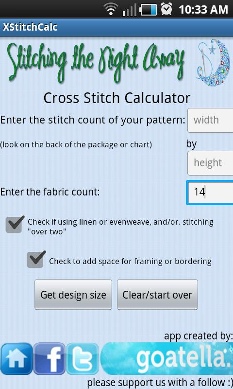 Cross Stitch Fabric Calculator- screenshot