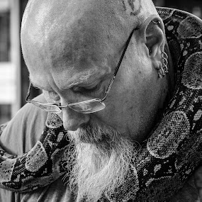 Snake Charmer by Christopher Mazzoli - Black & White Portraits & People ( snake, weekend, street performer,  )