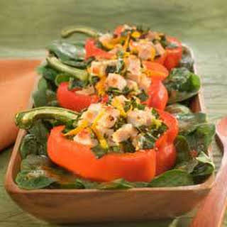 Roasted Bell Pepper Salad Boats .