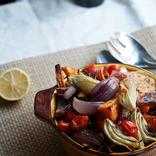 Roasted Vegetables with Pomegranate Vinaigrette.