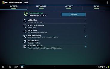 تطبيق الحماية من الفيروسات FREE Tablet AntiVirus Security AVG.apk للاندرويد والهواتف الذكية بمزايا ومهام متعددة
