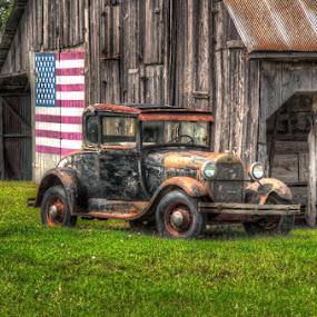 Americana by Bob Barrett - Transportation Automobiles ( model a, hdr, barn, automobile, ford, antique, classic )