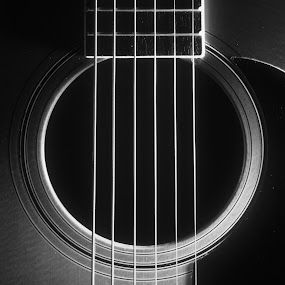Untitled by David Goss - Artistic Objects Musical Instruments ( musical instrument, still life, guitar, sfx pro, sep2, black&white )