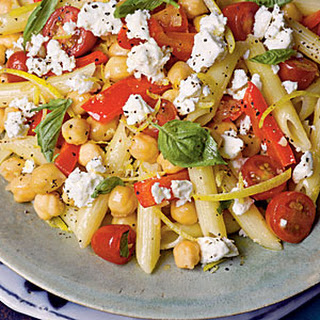 Penne with Chickpeas, Feta, and Tomatoes.