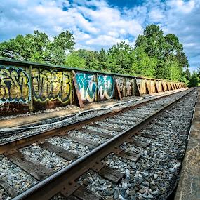 Track tags by Andrew Hale - Transportation Railway Tracks ( tagging, railroad, graffiti, train, tracks, rust )