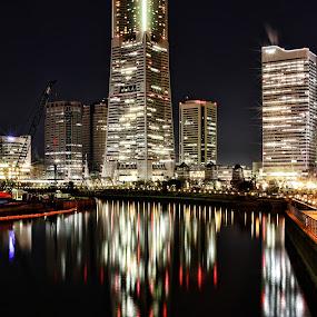 Landmark Tower Reflected by Lenny Sharp - City,  Street & Park  Skylines ( office, japan, skyscraper, night, yokohama, landmark tower )