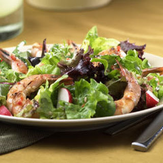Grilled Shrimp Over Greens.