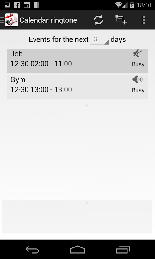 Calendar Ringtone Sinchronizer - screenshot