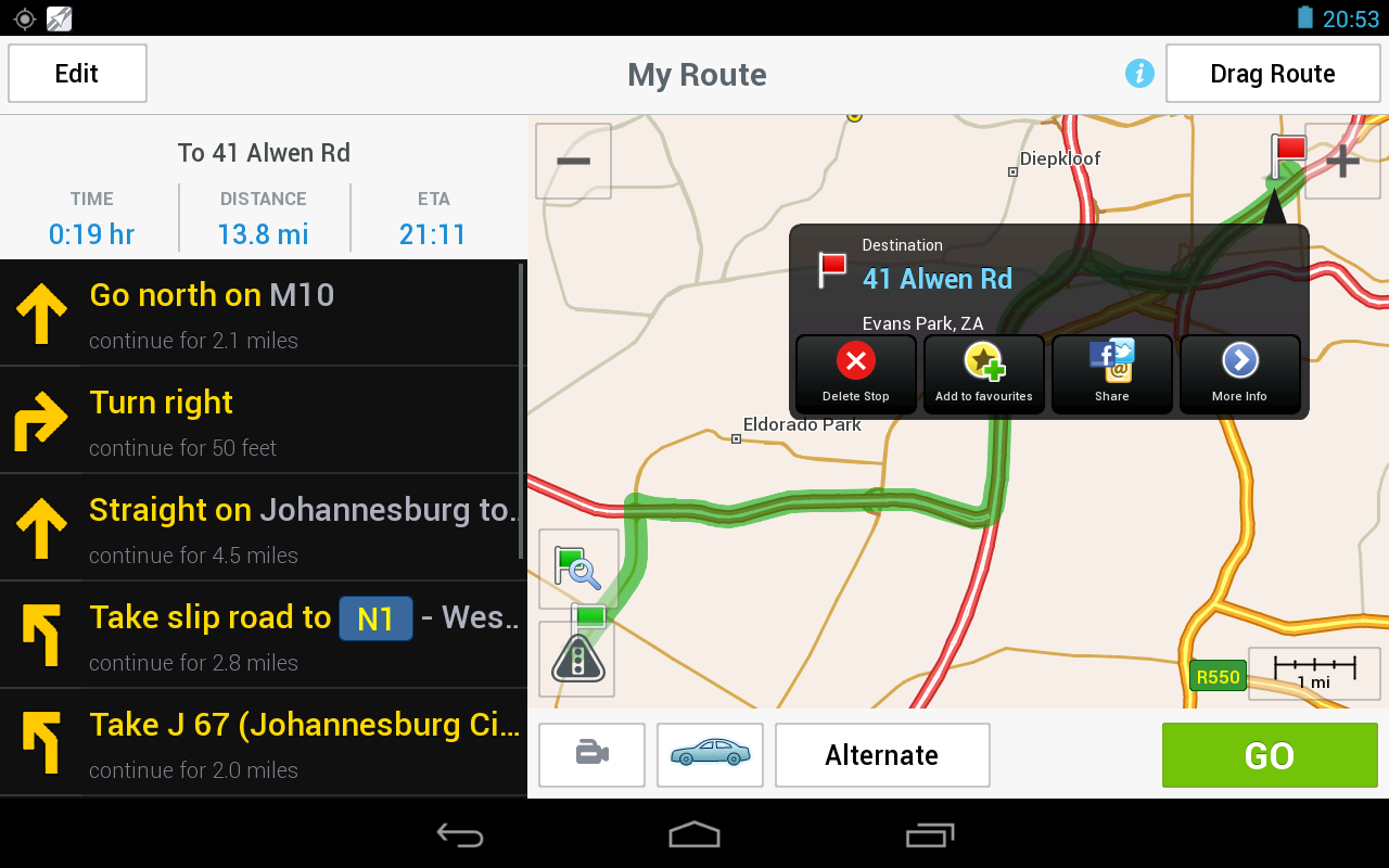 CoPilot Premium South Africa - screenshot