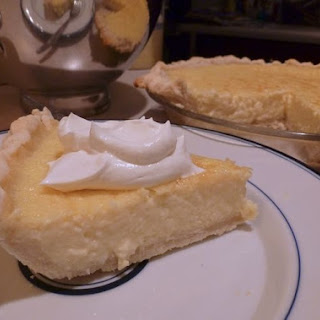Coconut Custard Pie with Coconut Whipped Cream.