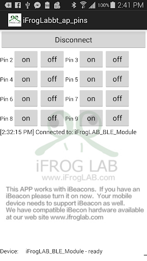 iFrogLab controls Arduino pins