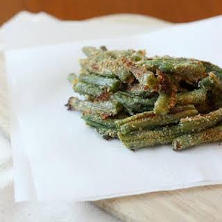 Crispy Parmesan baked green bean fries.