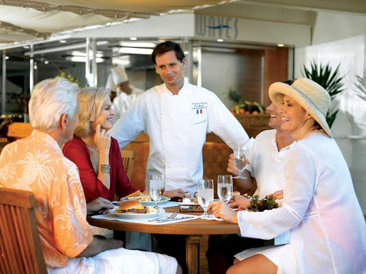 Oceania-Waves-1 - You'll be well looked after during your casual lunch in Oceania Regatta's Waves restaurant.