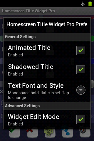 Home Screen Title Widget Pro- screenshot