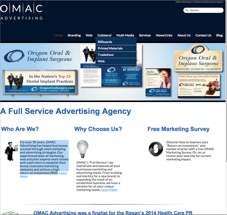 OMAC Advertising- screenshot