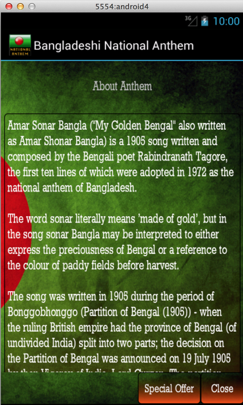Bangladeshi National Anthem - screenshot