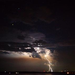 lake lightening by Richard Wright - Landscapes Weather ( lightening, lake, night, storm, mississippi )