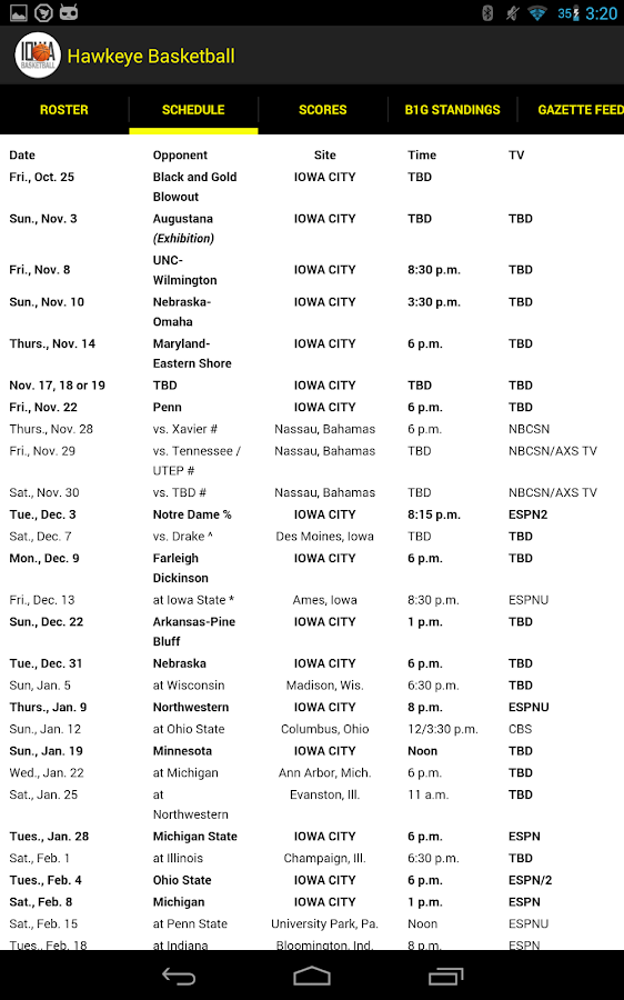 Hawkeye Basketball Schedule - screenshot