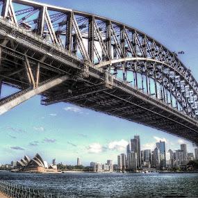 Sydney Harbour Bridge  by Ray Heath - City,  Street & Park  Vistas ( sydney harbour, sydney harbour bridge, australia, bridge, opera house,  )