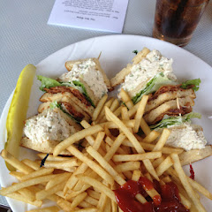 Triple decker chicken salad.  Yum.