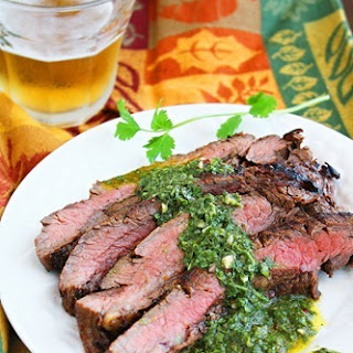 Grilled Marinated Flank Steak with Chimichurri Sauce.