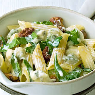 Penne With Gorgonzola, Walnuts And Spinach.