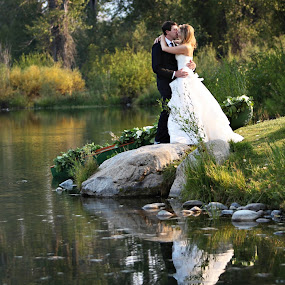 Bride and Groom by the Pond by Kristin Cheatwood - Wedding Bride & Groom ( reflection, lake, bride, pond, groom )