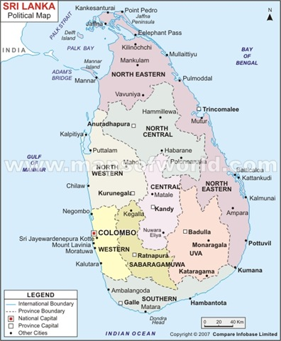 Sri Lanka Political Map.Sri Lanka Takes A Look At Thorium