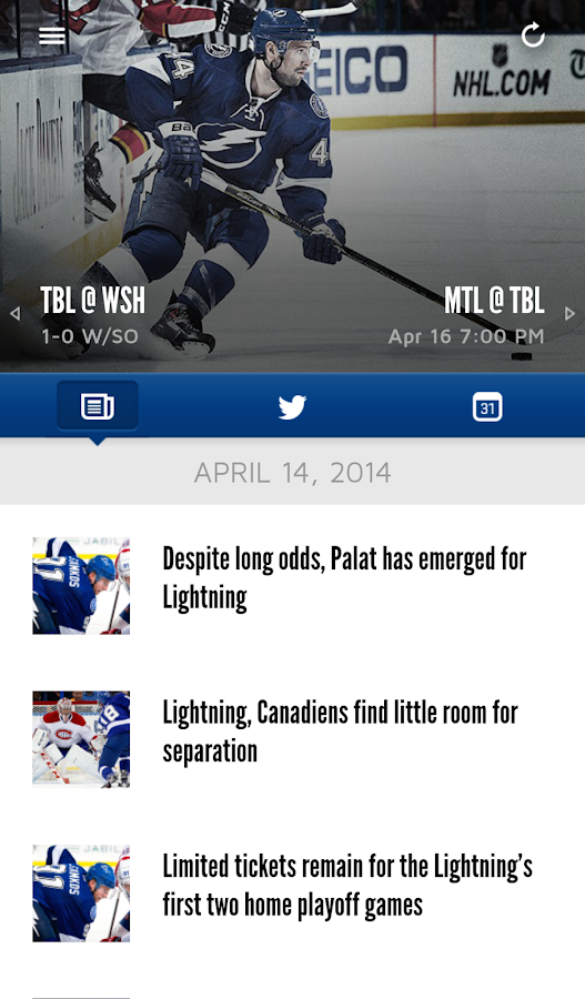 Tampa Bay Lightning Mobile - screenshot