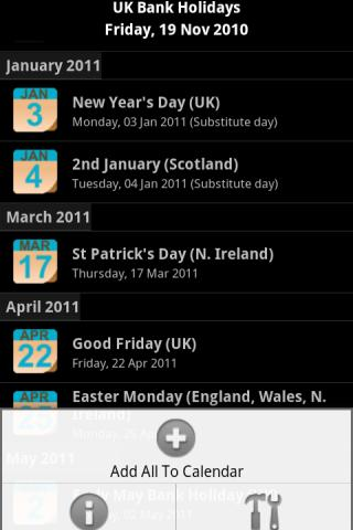 UK Bank Holidays - screenshot