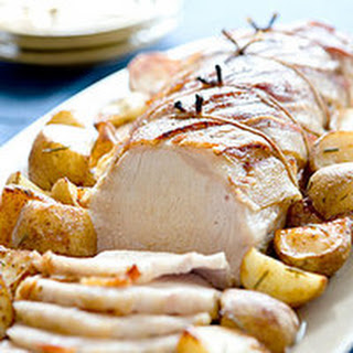 Maple-Mustard Pork Loin with Roasted Potatoes.