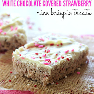 White Chocolate Covered Strawberry Rice Krispie Treats