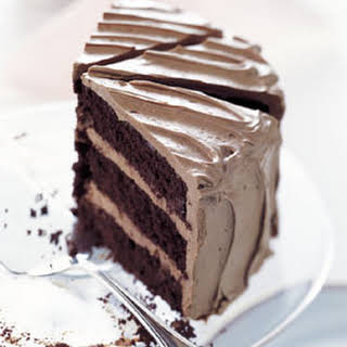 Chocolate Cake with Caramel-Milk Chocolate Frosting.