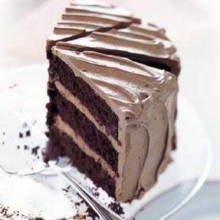 Chocolate Cake with Caramel-Milk Chocolate Frosting.
