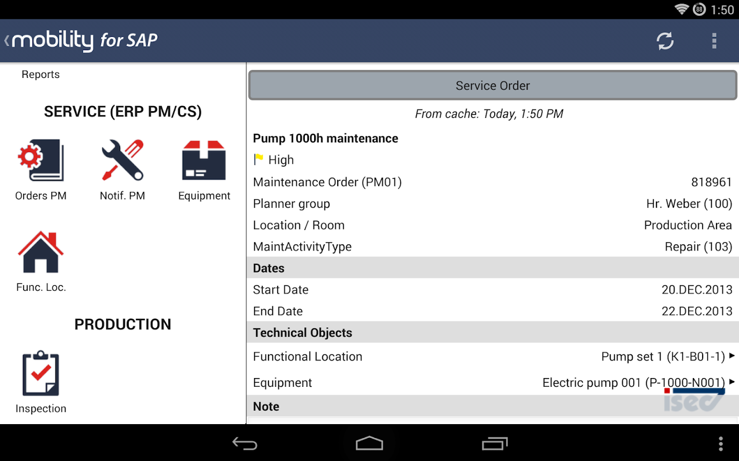 ISEC7 Mobility for SAP- screenshot