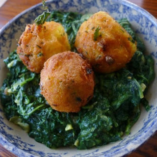 The Occasional Vegetarian's Spinach Saag with Spiced Potato Balls.