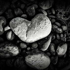 Broken by Helen Jamison - Nature Up Close Rock & Stone ( broken, hdr, black and white, crack, white, river rock, dark, rock, heart broken, heart rock, black )
