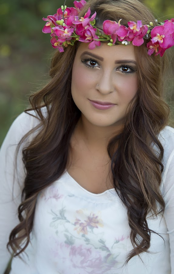 pink by Carole Brown - People Portraits of Women ( brown eyes, white floral top, floral headband, brown hair )