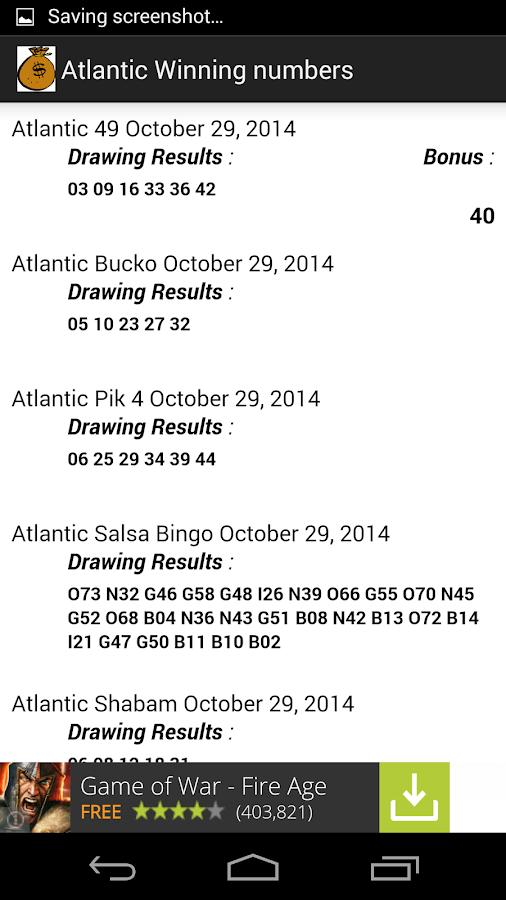 Atlantic 49 Winning Numbers Tag